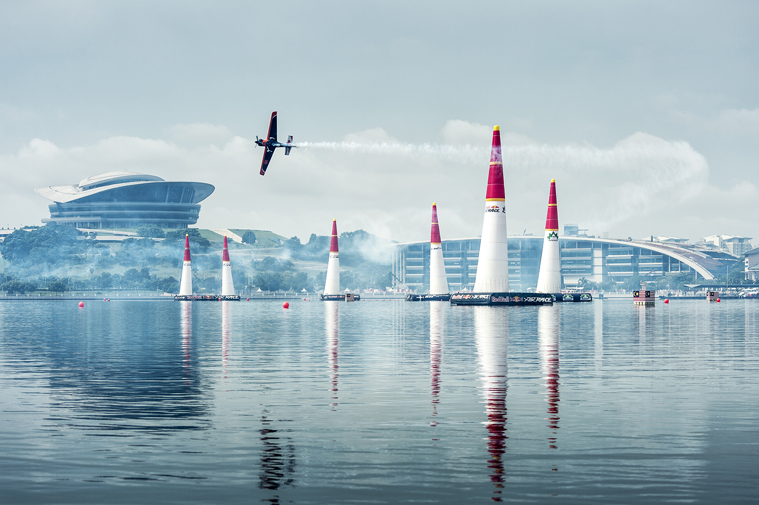 Nicolas Ivanoff of France performs during the training for the third stage of the Red Bull Air Race World Championship in Putrajaya, Malaysia on May 16, 2014. // Predrag Vuckovic/Red Bull Content Pool // P-20140516-00015 // Usage for editorial use only // Please go to www.redbullcontentpool.com for further information. //