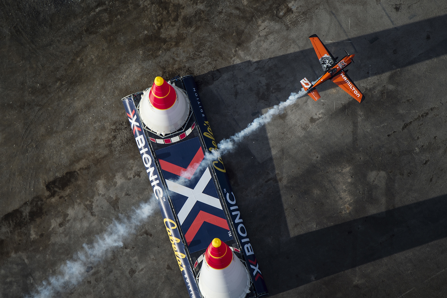 Nicolas Ivanoff of France performs during qualifying day of the eighth stage of the Red Bull Air Race World Championship at the Las Vegas Motor Speedway in Las Vegas, Nevada, United States on October 17, 2015. // Joerg Mitter / Red Bull Content Pool // P-20151018-00149 // Usage for editorial use only // Please go to www.redbullcontentpool.com for further information. //