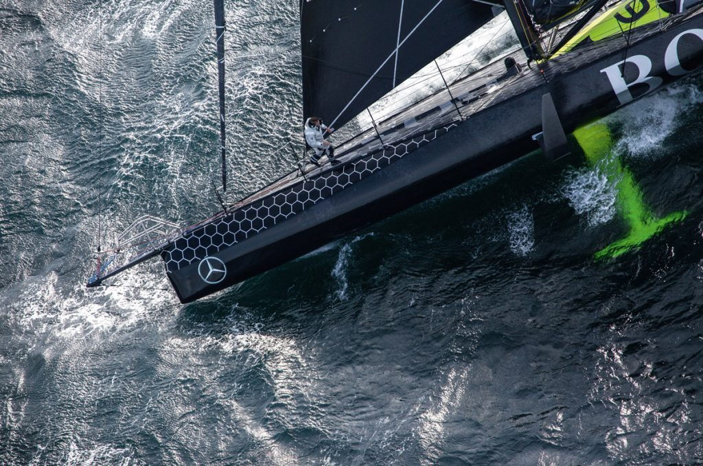 Sailing aerial images of the IMOCA boat Hugo Boss, skipper Alex Thomson (GBR), during training solo for the Vendee Globe 2016, off England, on September 16, 2016 - Photo Cleo Barnham / Hugo Boss / Vendée Globe Images aériennes de Hugo Boss, skipper Alex Thomson (GBR), lors d'une sortie d'entrainement en solo au large de l'Angleterre, le 16 Septembre 2016 - Photo Cleo Barnham / Hugo Boss / Vendée Globe